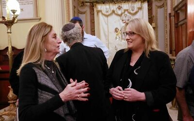 Ros Spence (right) chatting with East Melbourne Hebrew Congregation board member Vivien Davis last Tuesday. Photo: Peter Haskin