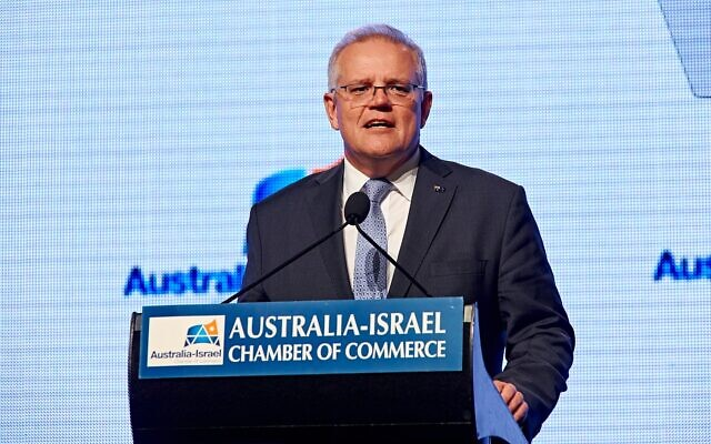 Scott Morrison addressing the AICC luncheon. Photo: Dean Schmideg