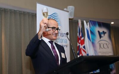James Merlino raising a toast to Israel at the Yom Ha'atzmaut event on Tuesday night. Photo: Peter Haskin