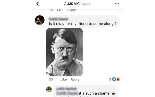 A comment on AUJS Victoria's Facebook post.
