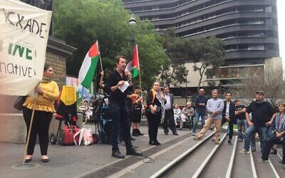Stephen Jolly speaking at a pro-Palestinian rally in 2018. Photo: Twitter