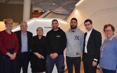 From left: Rebecca Kummerfeld, Norman Seligman, Elanit Mitry, Nahi Baki, Ryan Baki, Darren Bark and Mary Guth at the Sydney Jewish Museum on Monday.