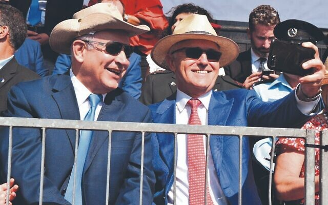 Firm friends. Benjamin Netanyahu and Malcolm Turnbull at the Battle of Beersheba centenary re-enactment in October 2017.