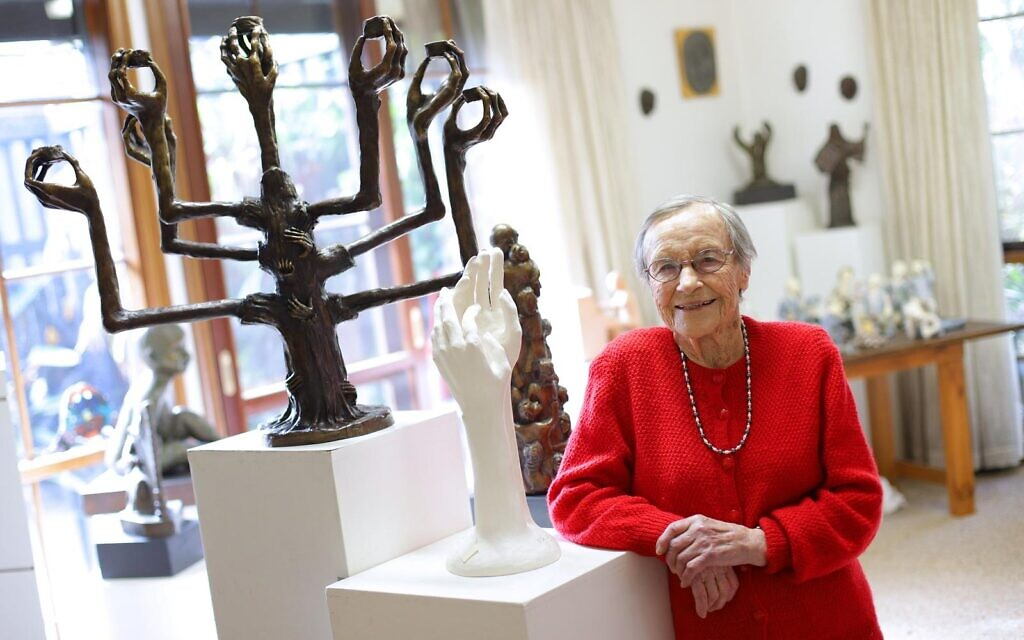 Sarah Saaroni with her sculpture Korczak and the Children and some of her other pieces at her home in Hawthorn East. Photos: Peter Haskin