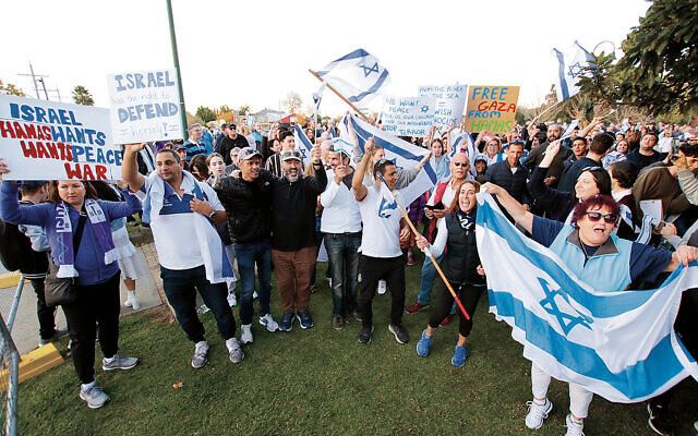 Participants at the pro-Israel rally in Melbourne. Photo: Peter Haskin