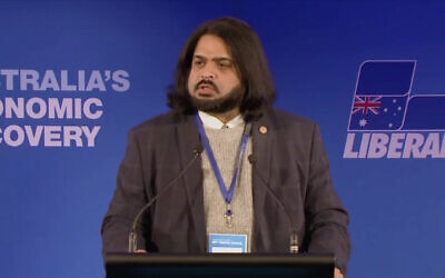 Chairman of the WA Liberal Party's policy committee, Sherry Sufi, speaks at the party's Federal Council.