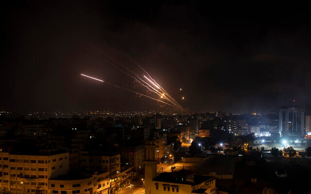 Rockets are launched from the Gaza Strip towards Israel on Wednesday, May 12, 2021. Photo: AP Photo/Khalil Hamra