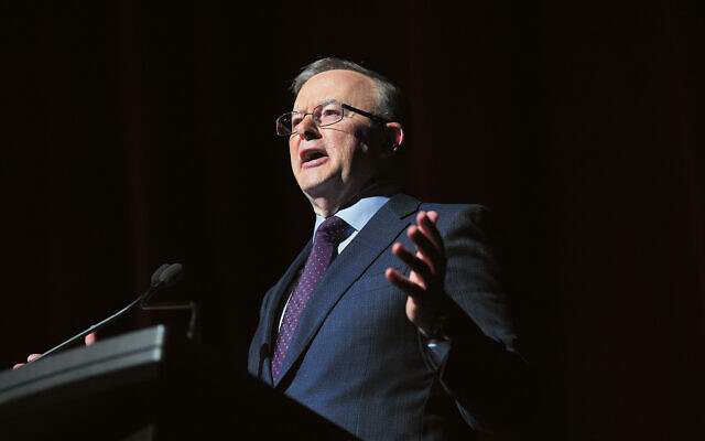 Anthony Albanese addressing the 2021 Queensland State Labor Conference last month. Photo: AAP Image/Dan Peled