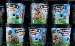 Ben & Jerry's ice cream on sale at a shop in Jerusalem, on July 19, 2021. Photo: Yonatan Sindel/Flash90