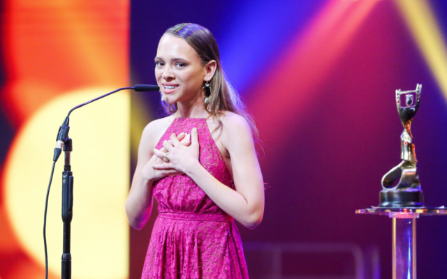 Israeli actor Shira Haas accepting her Ophir Award in 2018 for Best Supporting Actress. Photo: Flash90