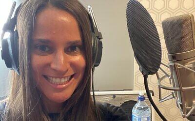 Melbourne mum, Olivia Benkel, in the recording studio.