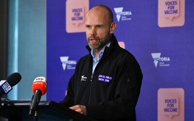 Victorian COVID-19 Commander Jeroen Weimar speaks to media during a press conference in Melbourne on Wednesday. Photo: AAP Image/James Ross