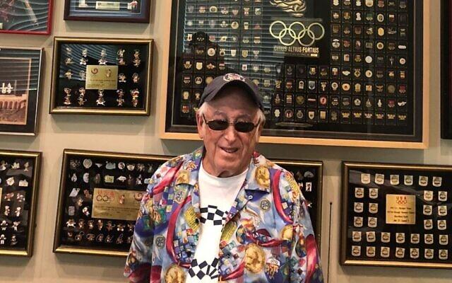Sid Marantz is one of the world's most committed pin traders. Photo: Courtesy of Marantz/ via JTA