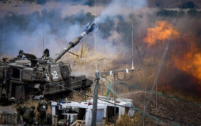 The Israeli army's Artillery Corps fires strikes at Lebanon on August 6, 2021. Photo: Basel Awidat/Flash90