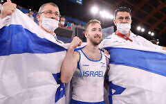 Artem Dolgopyat of Team Israel celebrates winning gold in the men's floor exercise final at the Tokyo 2020 Olympic Games. Photo: Getty Images