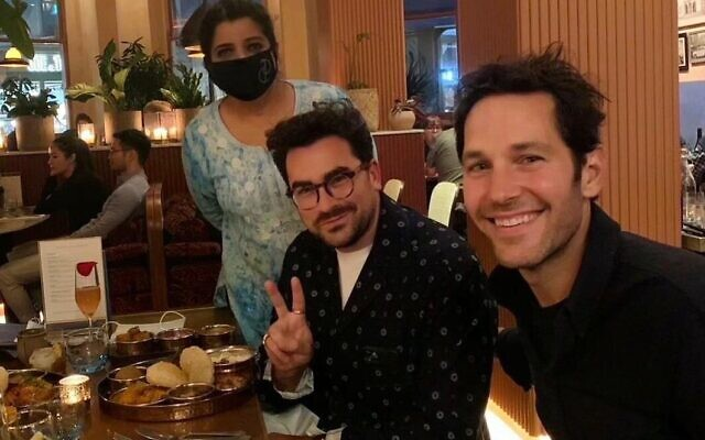 Paul Rudd (right) with chef Asma Khan and Dan Levy. Photo: Twitter