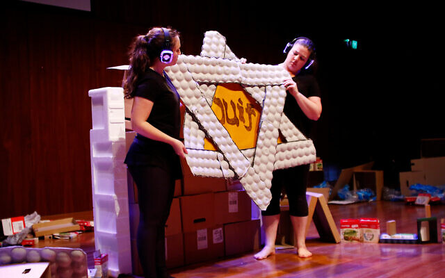 """24-4-17. Leibler Yavneh College. """"Singing Swallows"""" crerated by Romi Kupfer.  Romi Kupfor (left), Tammy Cohen. Photo: Peter Haskin"""