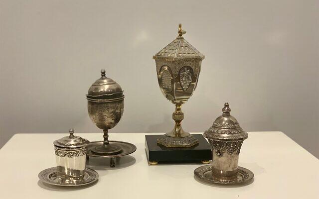 Four generations of Iraqi kiddish cups