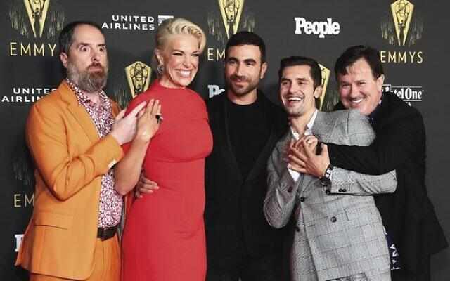 Brett Goldstein (centre) at a Television Academy Reception to honour Emmy nominees. Photo: Matt Winkelmeyer/Getty Images/AFP
