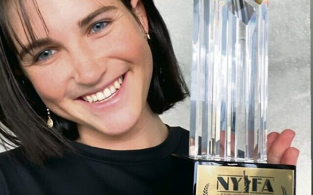 Gordoun with her New York Film Academy award for Bad Beat.