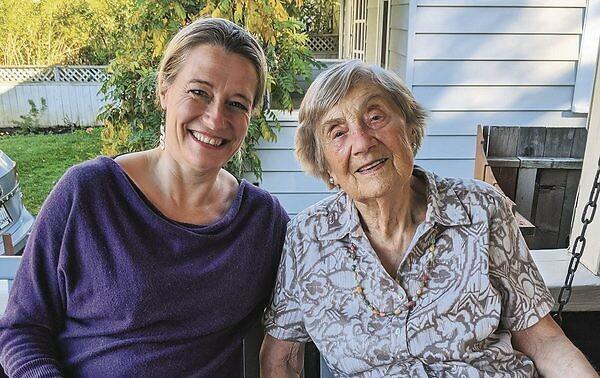 Author Lucy Adlington with the last surviving dressmaker, Mrs Kohut.