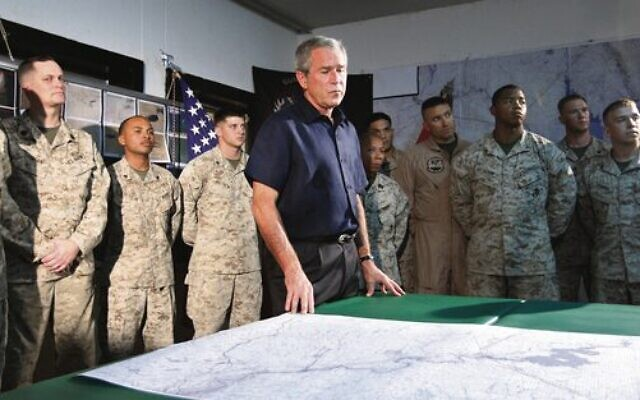 President George W. Bush with US troops at Al-Asad Airbase in Iraq in September 2007. Photo: AP Photo