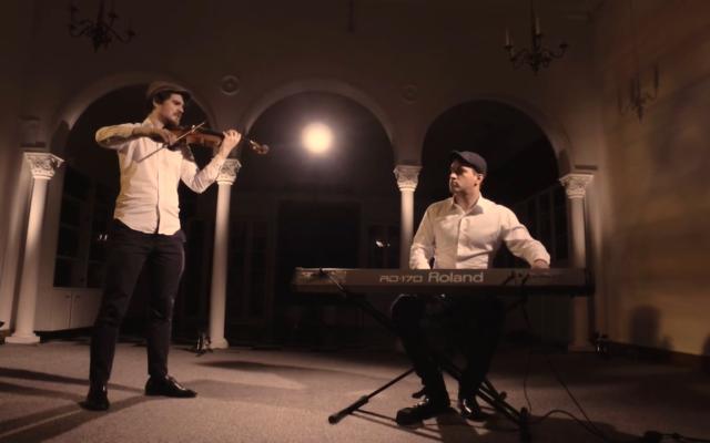 Ben Adler and Paul Khodor from Chutney  Unplugged, recording Avini Malkeinu
