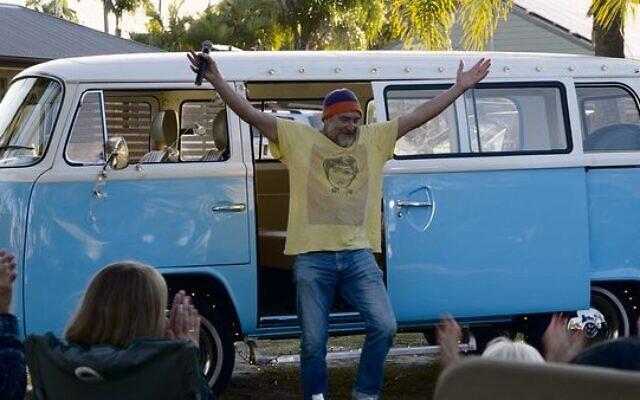 Jimeoin and his trusty kombi van. Photo: Humerus Productions