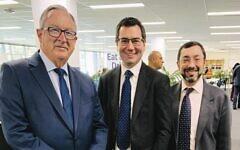 From left: Brad Hazzard, Darren Bark and Rabbi Benjamin Elton earlier this year.