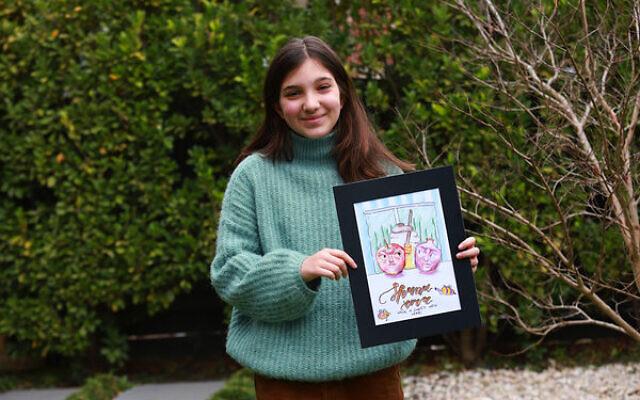 Rachel Feldman with her winning Rosh Hashanah card.  Photo: Peter Haskin
