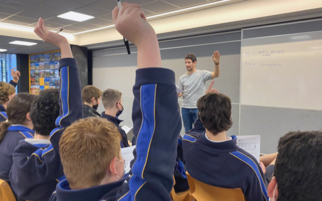 Former Mount Scopus student Ben Scholl teaching students how to combat mental health challenges.