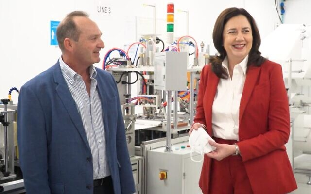 Andrew Breckler and Queensland Premier Annastacia Palaszczuk at the AMM PPE factory in Brisbane.