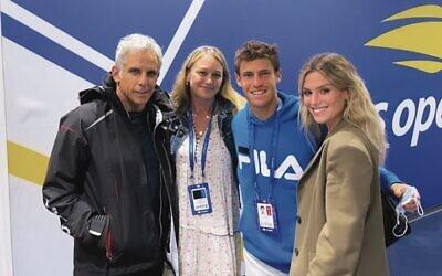 From left: Ben Stiller, Christine Taylor, Diego Schwartzman and Eugenia DeMartino at the US Open. Photo: @eugedemartino Instagram stories via JTA