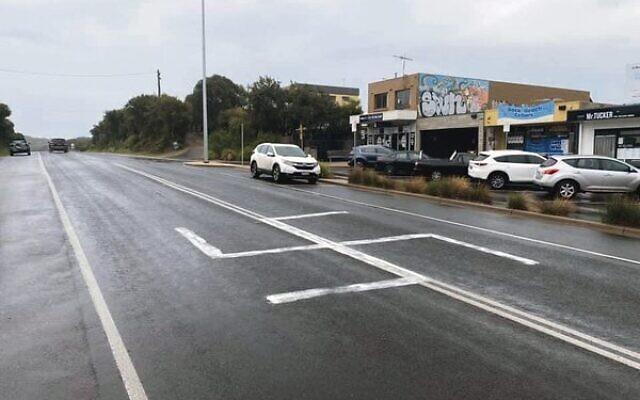 A swastika painted on the road in Rye last week. Photo: Facebook