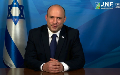 Israeli Prime Minister Naftali Bennett addresses the JNF 120th anniversary gala event. Photo: Screenshot