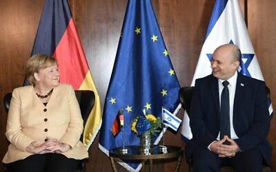 Israeli Prime Minister Naftali Bennett and German Chancellor Angela Merkel at the King David Hotel in Jerusalem. Photo: GPO