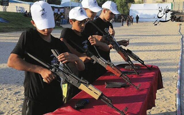 Gaza children trained in the use of weapons at a summer camp earlier this year. Photo: Hamas