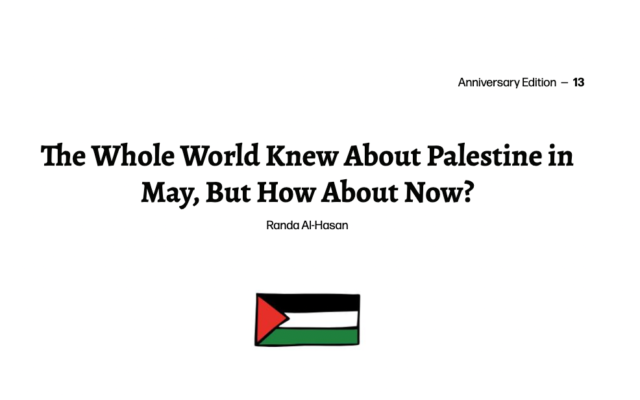 """The article, """"The whole world knew about Palestine in May, but how about now?"""" which was published earlier this month."""
