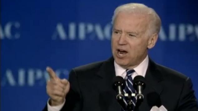 نائب رئيس الولايات المتحدة جو بايدن أثناء خطاب 4, 2013 (photo credit: JLTV Screen Shot)