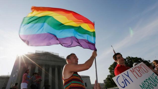 صورة توضيحية لعلم الفخر للمثليين( Win McNamee/Getty Images via JTA)
