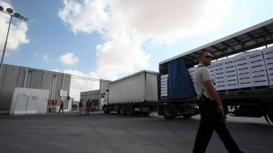 جندي اسرائيلي يتفحص البضائع الداخلة الى قطاع غزة   (بعدسة يوسي زمير/ فلاش 90)