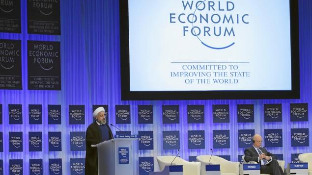 حسن روحاني يلقي كلمته في دافوس 23 يناير (منتدى الاقتصاد العالمي)