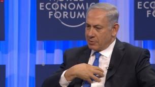 رئيس الوزراء نتانياهو خلال جلسة صحفية في منتدى الاقتصاد العالمي 23 يناير 2014 (صورة شاشة)