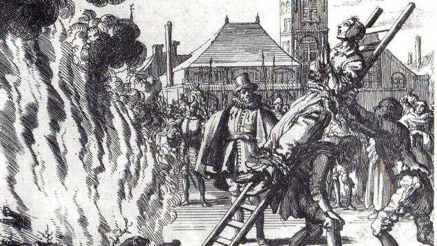 نقش لاعدام بالحرك من القرن السادس عشر: اعدام آن هندريكس واللتي حرقت الى الموت في امستردام 1571 (جاك لوكان/ الدومين العام)