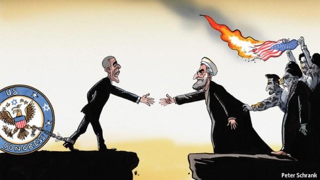 الكاريكاتير اللذي نشر في الايكونوميست يظهر الرئيس الامريكي باراك اوباما مكبل في قيود كونجرس واقع تحت سيطرة يهودية