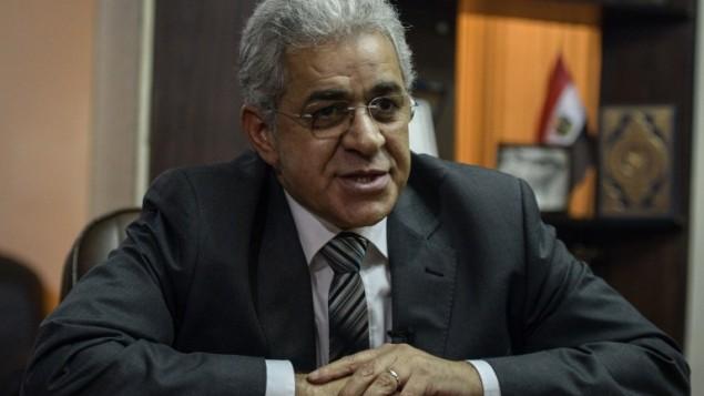 المرشح الرئاسي المصري حامدين صباحي خلال لقاء مع وكالة الانباء أ ف ب 24 فبراير 2014 (بعدسة محمد الشهيد/ أ ف ب)