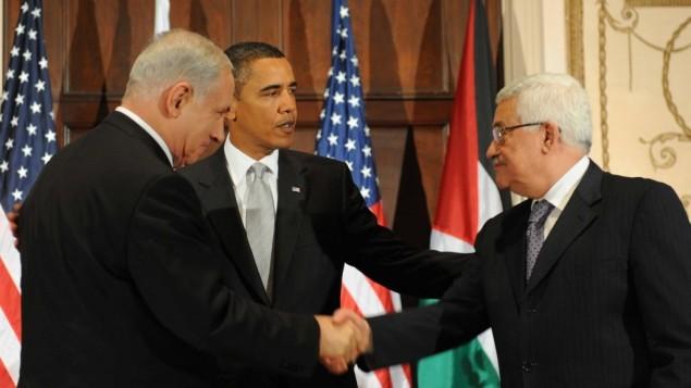 باراك اوباما، محمود عباس وبنيامين نتنياهو في نيويورك 2009 (بعدسة افي اوحايون flash 90)