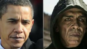 قطع دور الشيطان في فيلم ابن اللهبسبب ادعائات بان الممثل يشبه اوباما (من شاشة اليوتوب)