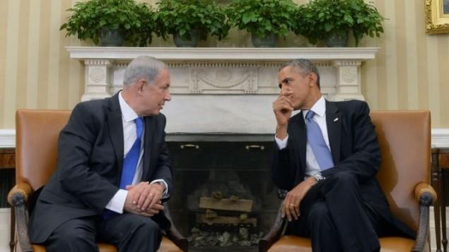 الرئيس باراك اوباما مع رئيس الوزراء بنيامين نتانياهو في البيت الابيض 2013 (كوبي جدعون/ فلاش 90)