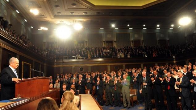 رئيس الحكومة بنيامين نتانياهو يخطب امام الكونجرس الامريكي 2011 (بعدسة آفي اوحايون / فلاش 90)